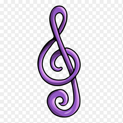 Purpel music note icon on transparent background PNG