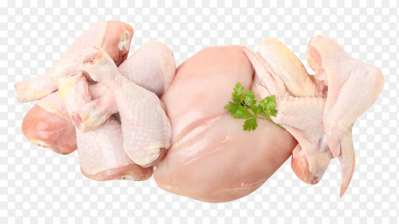 Raw chicken meat parsley on transparent background PNG