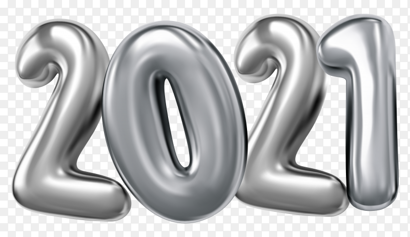 Realistic 3d 2021 Gray  foil balloons on transparent background PNG