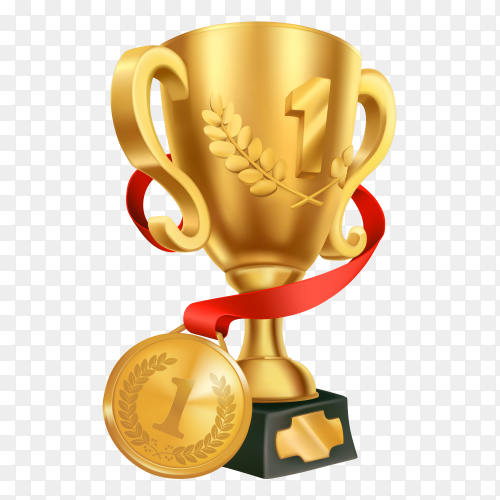 Realistic golden championship trophy with golden medal on transparent background PNG