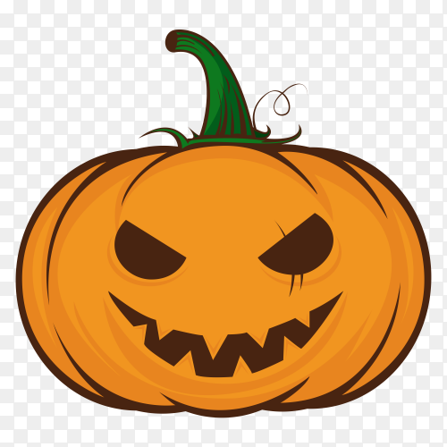 Realistic halloween angry pumpkin on transparent background PNG