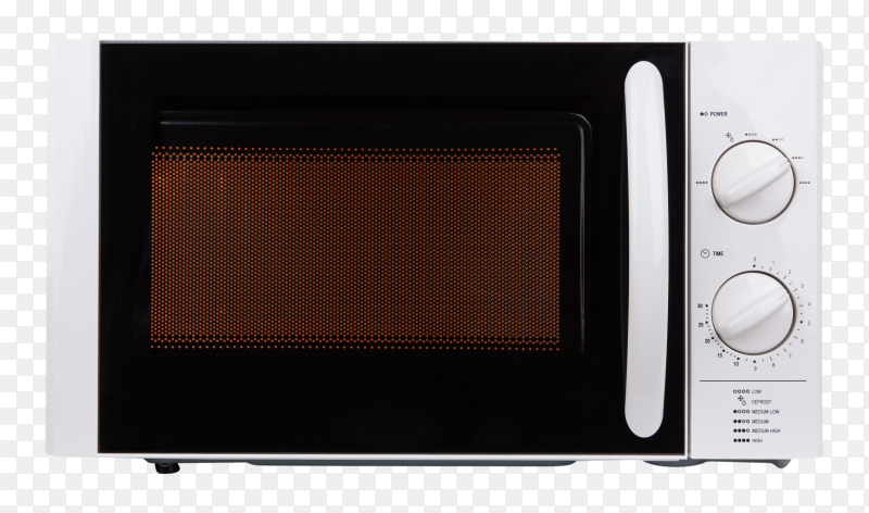 Realistic microwave oven on transparent PNG