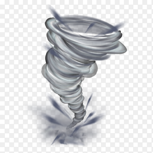 Realistic tornado swirl isolated illustration on transparent background PNG