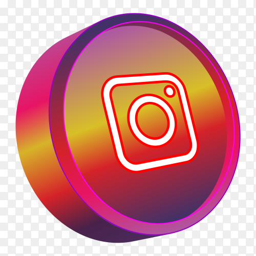 Red 3D instagram logo on transparent background PNG