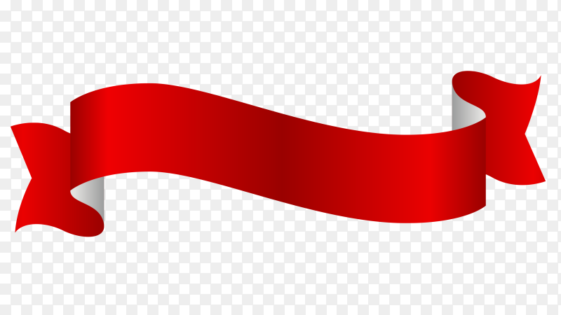 Red Ribbon Banner on transparent PNG
