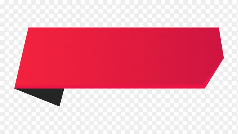 Red Ribbon banner design on transparent background PNG