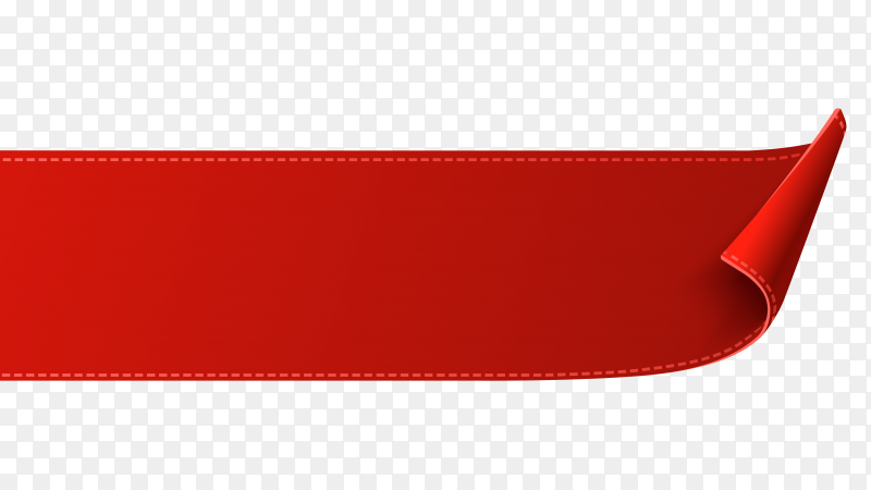 Red Ribbon banner design on transparent background PNG