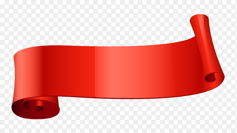 Red curved ribbon banner on transparent background PNG