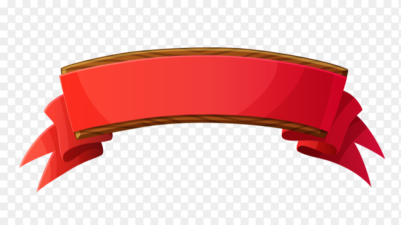 Red ribbon flat banner on transparent background PNG