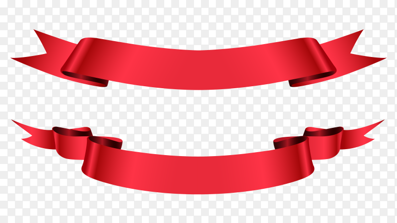 Red ribbon flat banners premium vector PNG