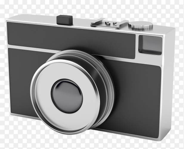 Retro styled photo camera on transparent background PNG
