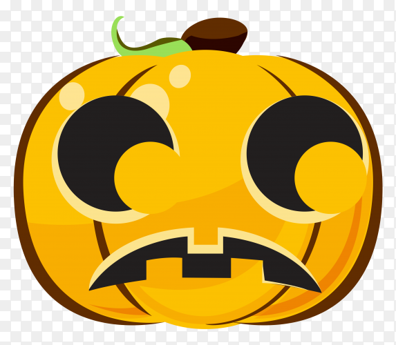 Sad halloween pumpkin cartoon emoji Clipart PNG