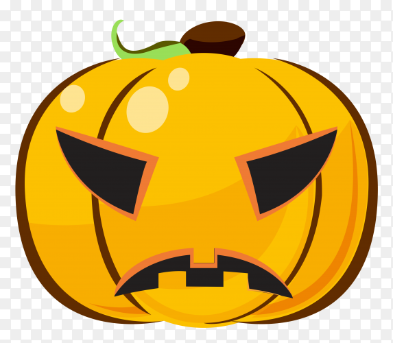 Sad halloween pumpkin emoji on transparent background PNG
