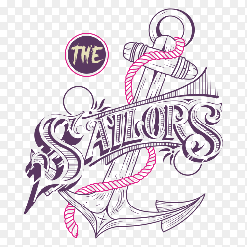 Sailor anchor illustration on transparent background PNG