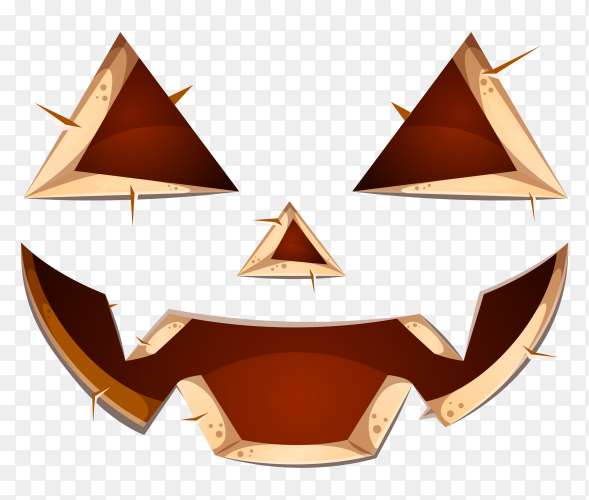 Scary face of halloween pumpkin or ghost on transparent PNG