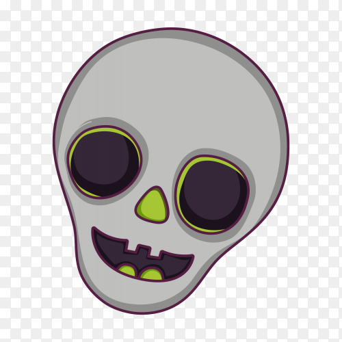 Skull cartoon on transparent background PNG