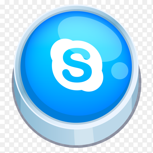 Skype logo 3D button on transparent Background PNG