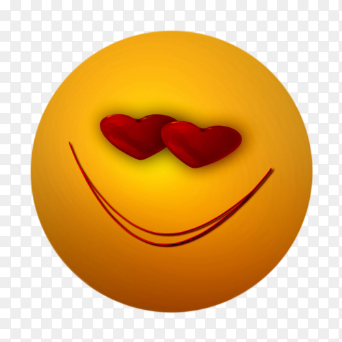 Smile and love eyes emoji face on transparent background PNG