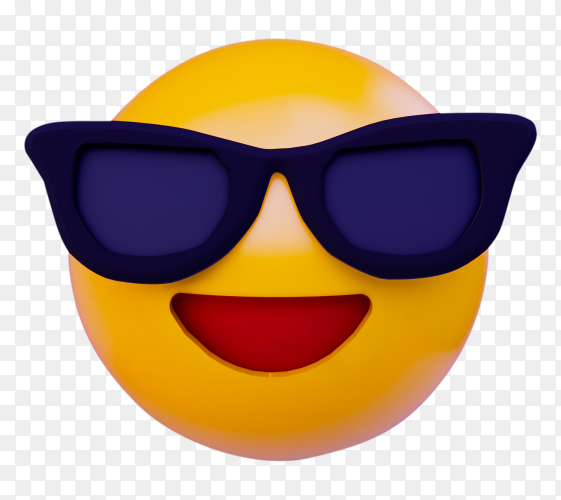 Smile emoji with sunglasses on transparent background PNG
