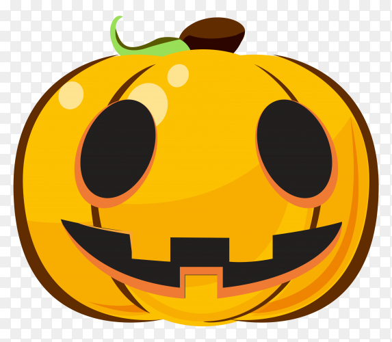 Smilling halloween pumpkin cartoon emoji on transparent PNG