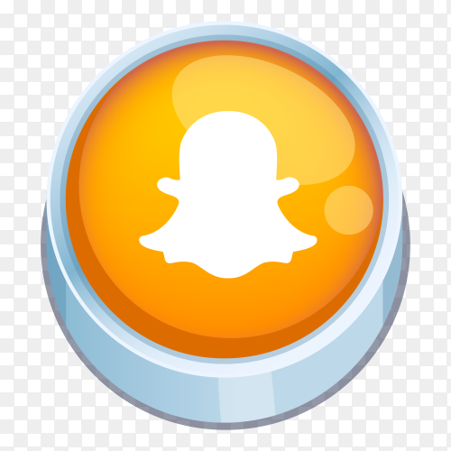 Snapcaht logo 3D button on transparent background PNG