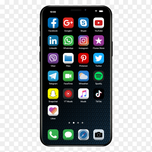 Social media icon on iphone on transparent background PNG