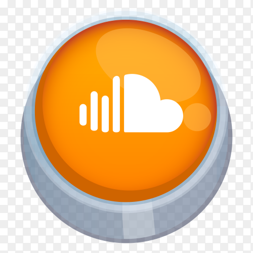Soundcloud logo 3D button on transparent background PNG