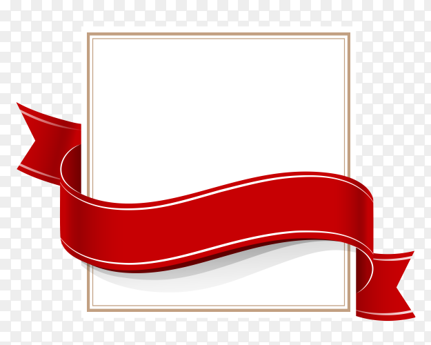 Square card with Red ribbon on transparent background PNG