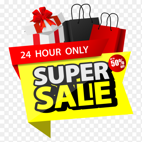 Stack shopping black friday sale with shopping bags on transparent background PNG