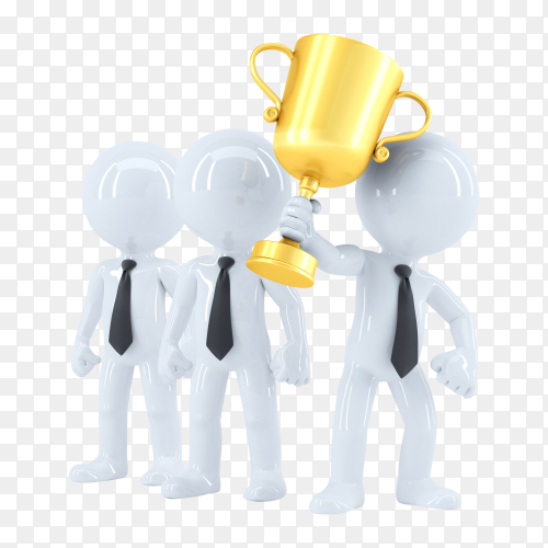 Successful business team with trophy on transparent background PNG