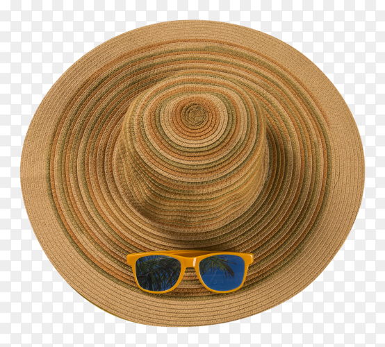 Summer hat with sunglasses on transparent background PNG