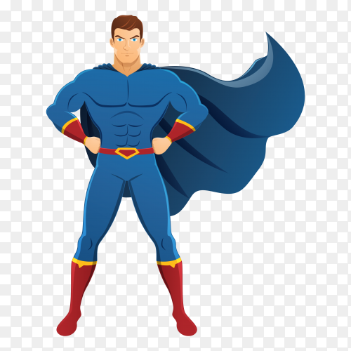 Superhero character design on transparent background PNG
