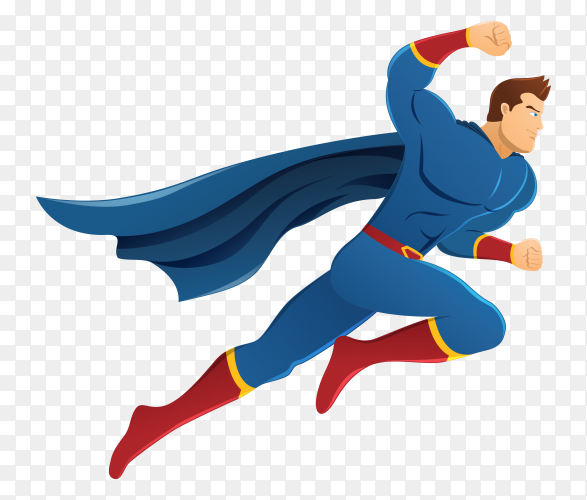 Superhero pose in action on transparent background PNG