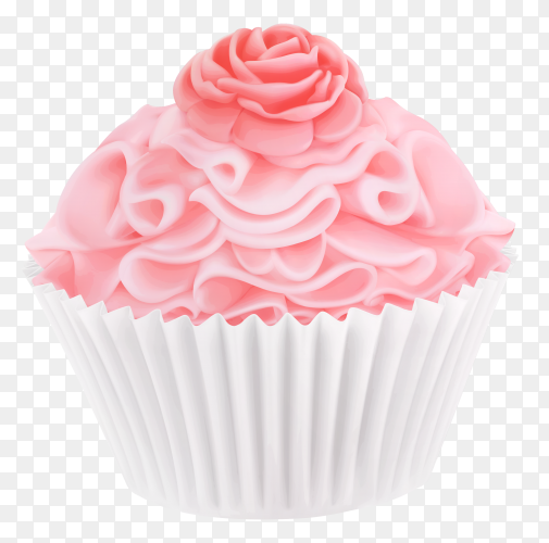 Tasty Pink cupcake on transparent background PNG