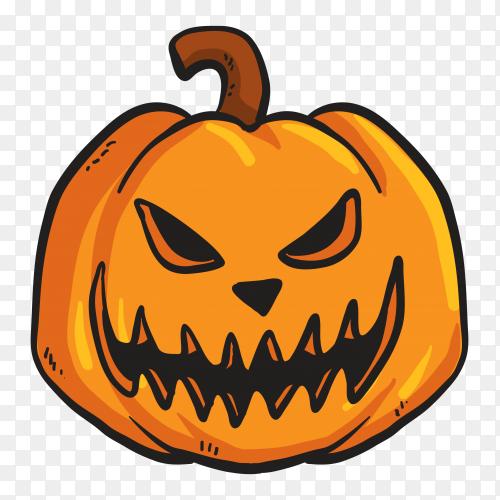 Terrifing pumpkin face on transparent PNG