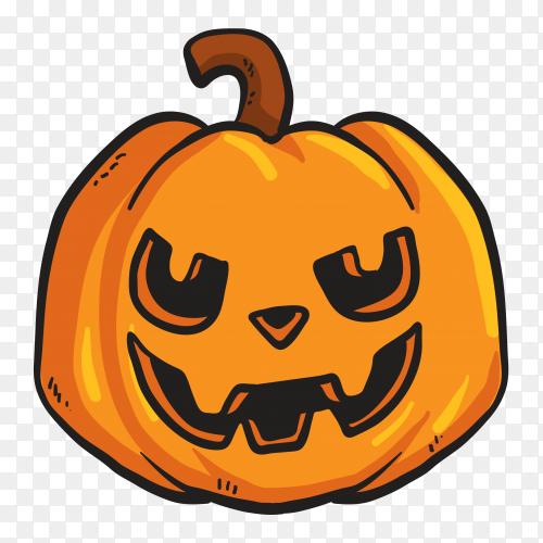Terrifing pumpkin face on transparent background PNG