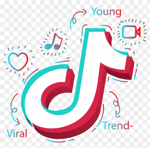 Tiktok logo design on transparent background PNG