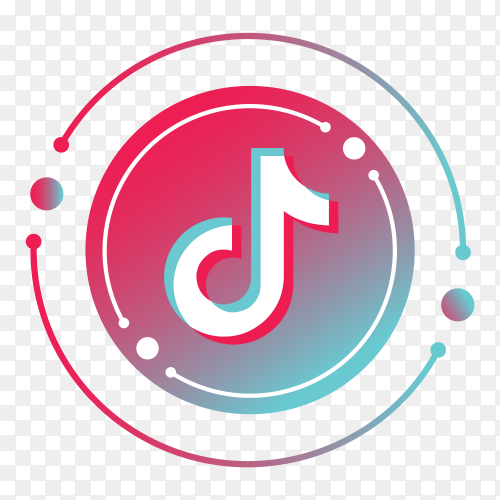 Tiktok logo minimal design  on transparent PNG