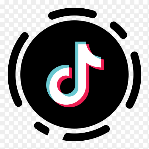 Tiktok logo minimal simple design on transparent PNG