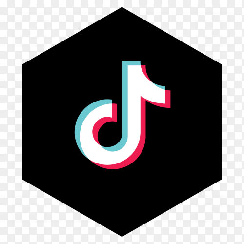 Tiktok logo minimal simple design on transparent background PNG