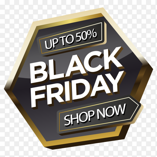Trendy black friday sticker on transparent background PNG