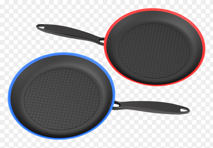 Two black pans on transparent background PNG