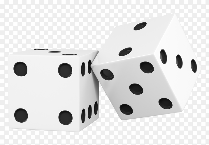 Two dices isolated on transparent background PNG