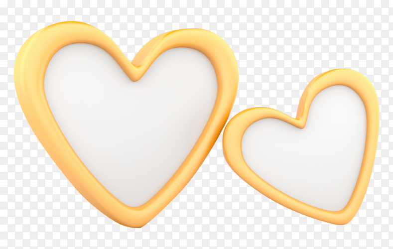 Two golden hearts on transparent background PNG