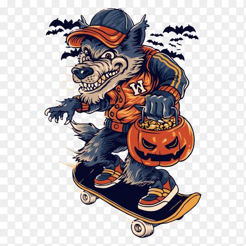 Warewolf in halloweeen on transparent background PNG