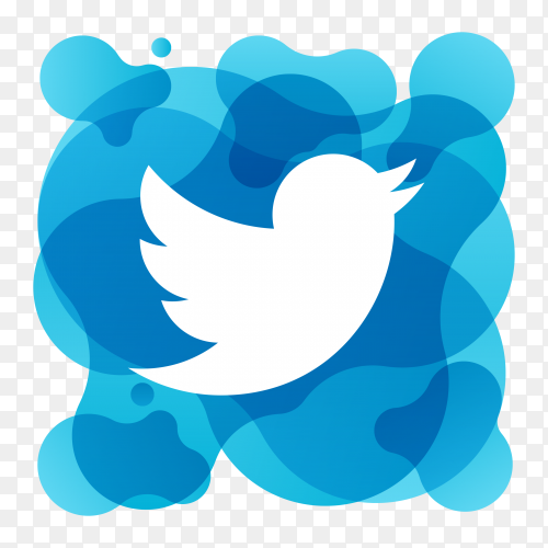 Watercolor twitter logo on transparent background PNG