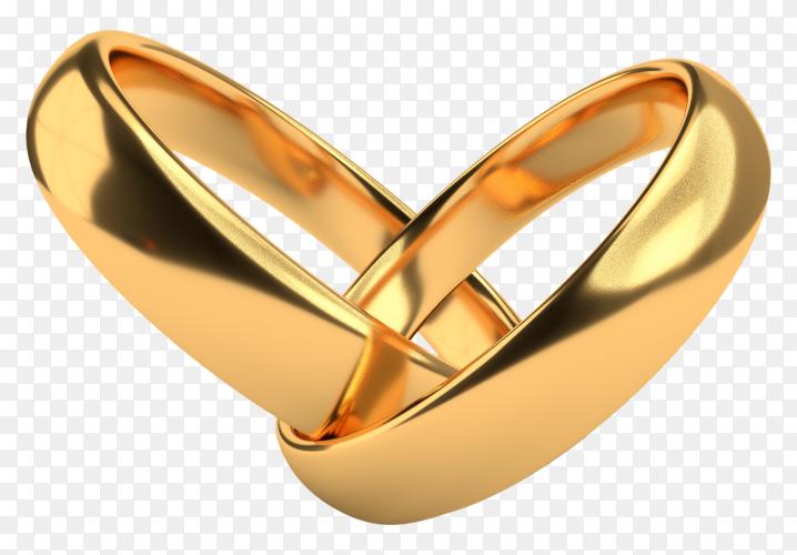 Wedding golden rings on transparent background PNG