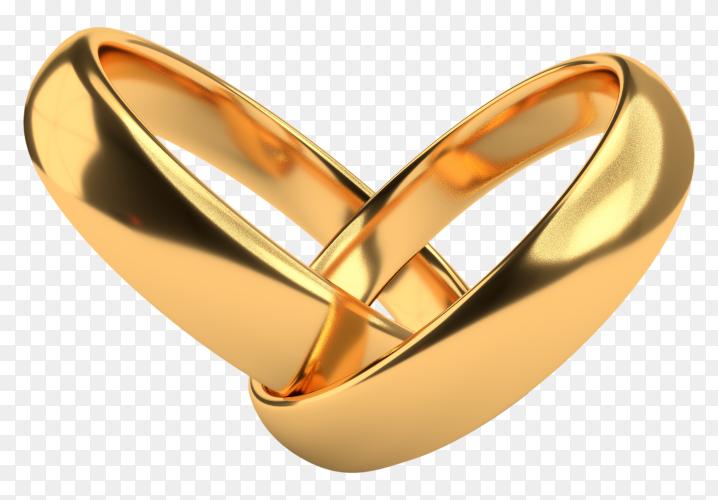 Wedding golden rings on transparent background PNG