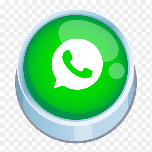 Whatsapp logo 3D button on transparent background PNG