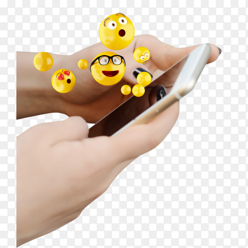 Woman using smartphone and sending emojis on transparent background PNG